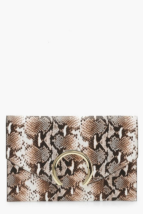 Womens Natural Large Ring Snake Clutch