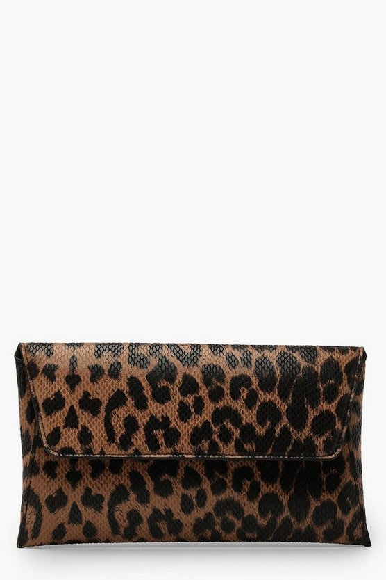 Womens Snake Effect Leopard Clutch & Chain