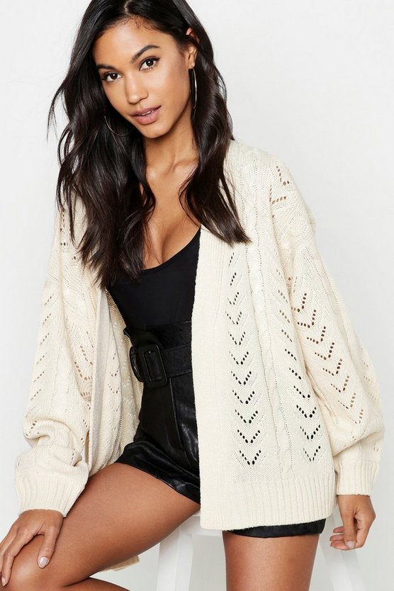 Cream Chevron Cable Knit Cardigan