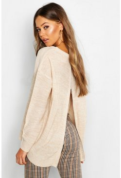 Beige Zip Back Oversized Sweater