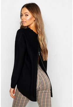 Black Zip Back Oversized Jumper