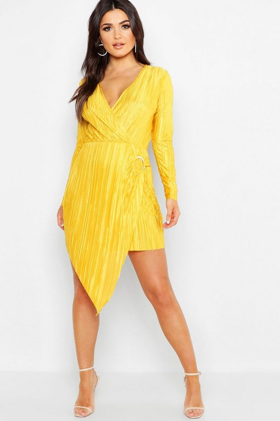 Womens Mustard Long Sleeve Plisse Wrap Ring Detail Midi Dress