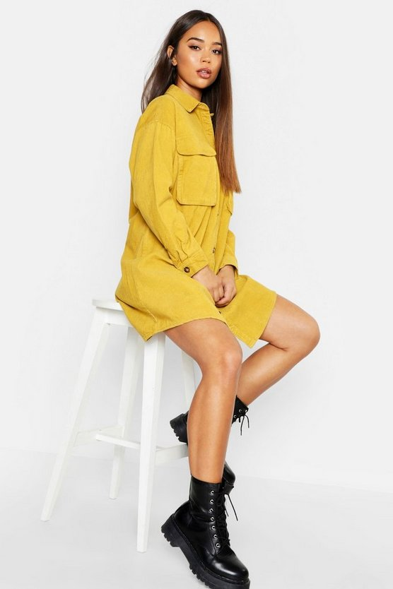 Super Oversized Cord Shirt Dress