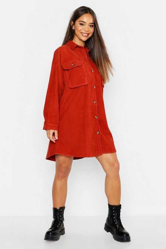 Womens Rust Super Oversized Cord Shirt Dress