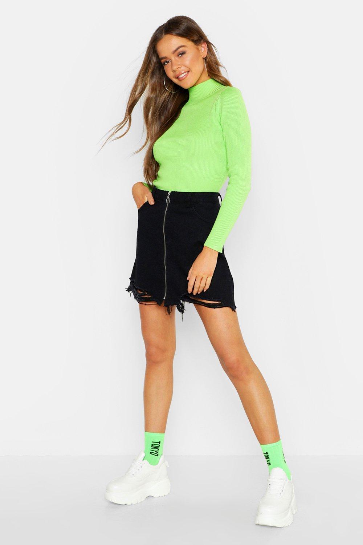 Zip Front Distressed Denim Mini Skirt