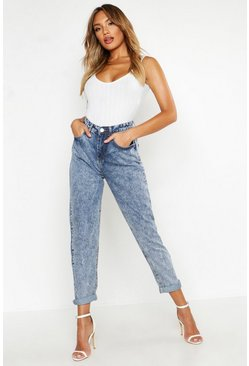 Light blue High Rise Acid Wash Boyfriend Jeans