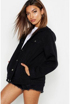 Womens Black Oversized Hooded Denim Jacket