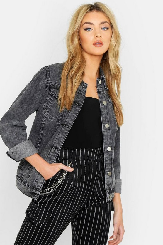 Womens Black Oversized Acid Wash Denim Jacket