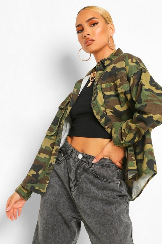 Womens Khaki Camo Super Oversized Denim Shirt Jacket