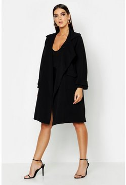 Womens Black Large Collar Pocket Lightweight Duster