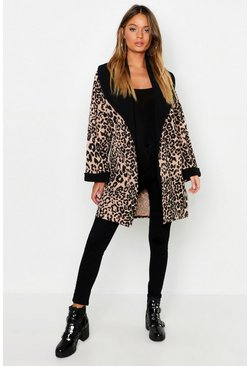 Womens Leopard Contrast Collar Duster