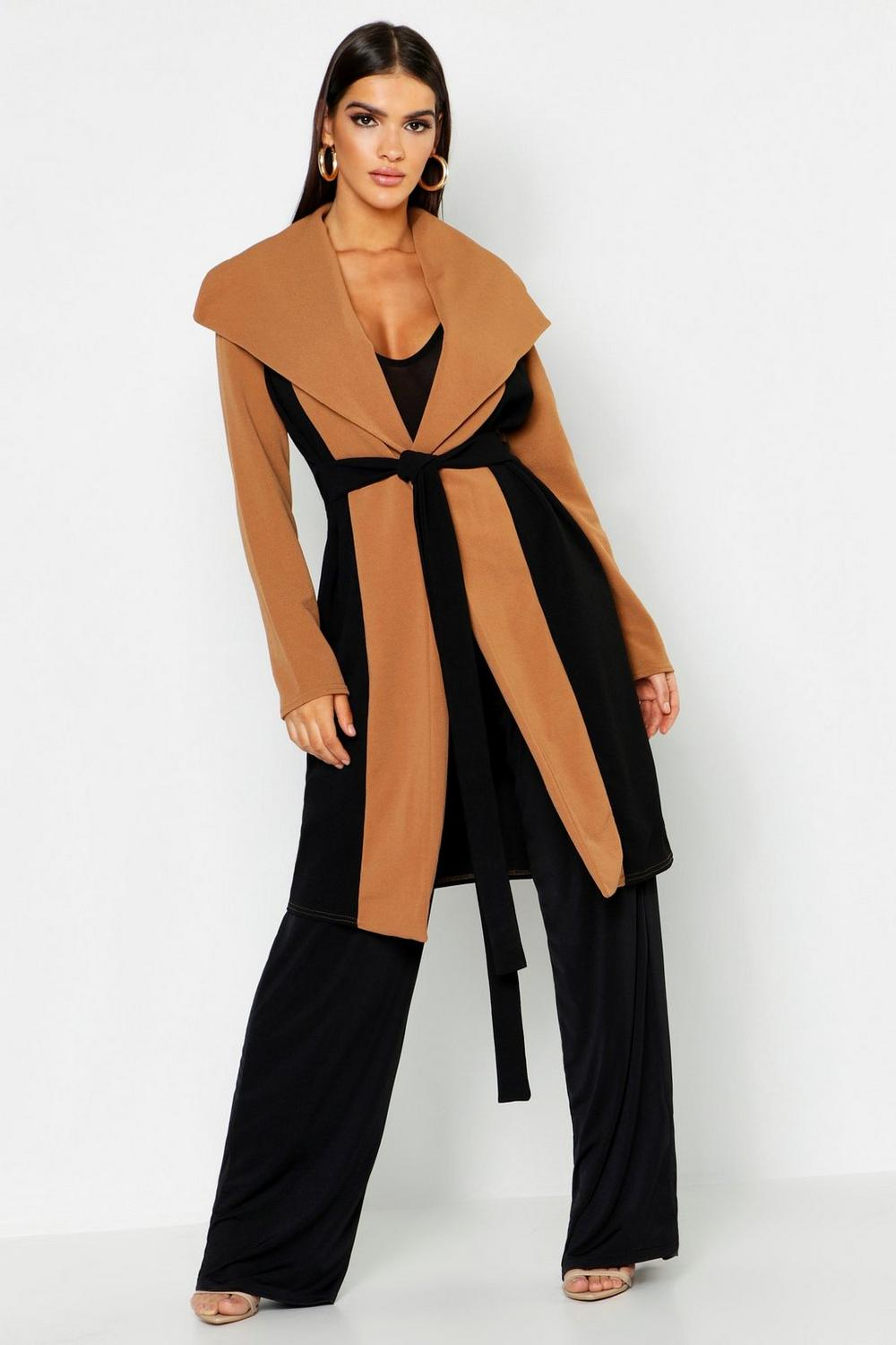 6766e800947 Womens Black Oversized Collar Contrast Duster. Hover to zoom