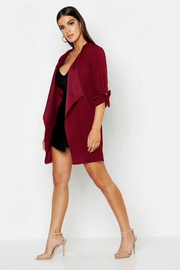 Womens Berry Eyelet Sleeve Duster