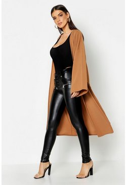Womens Camel Dropped Shoulder Tie Belt Duster