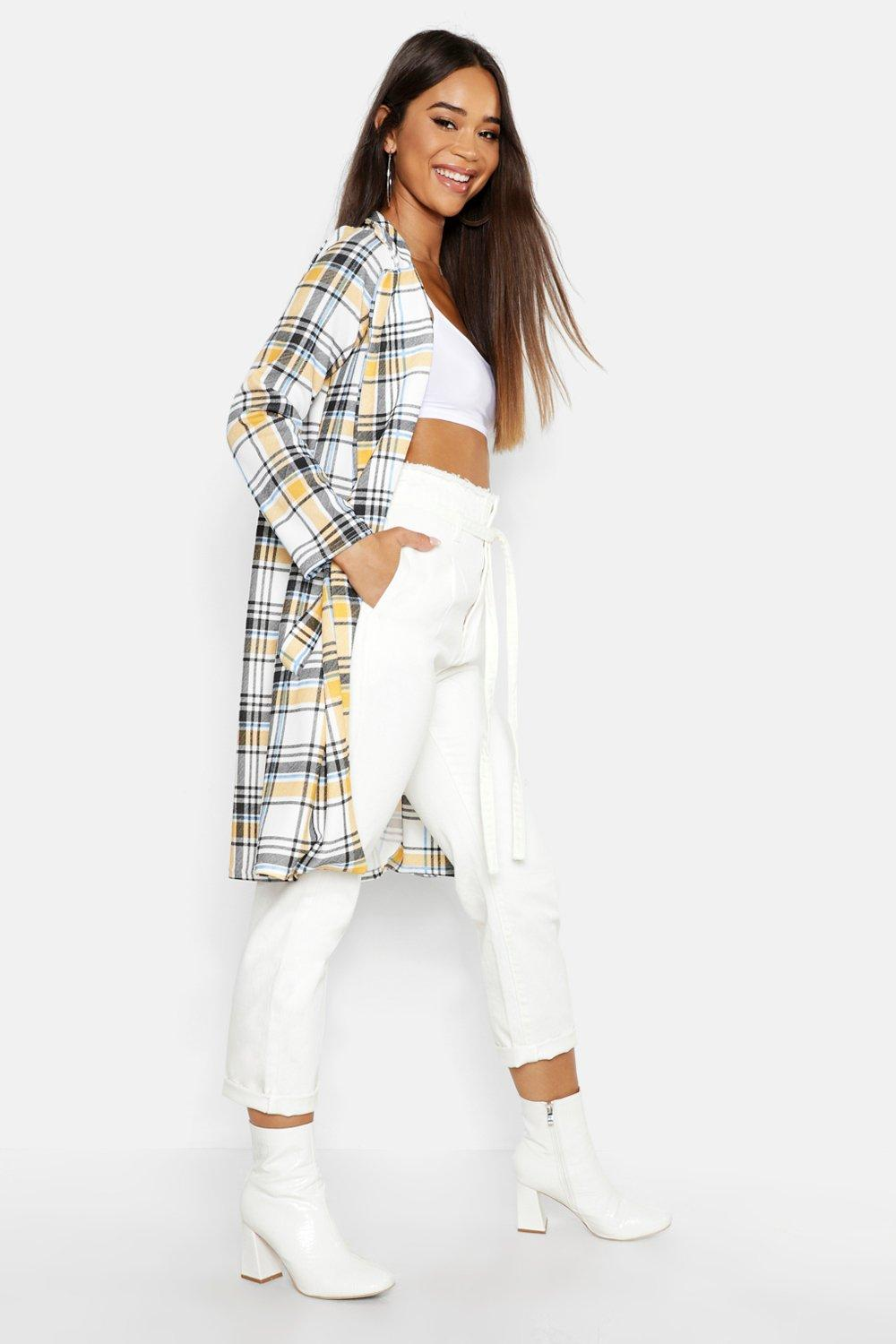 Check Collar Sleeve Duster