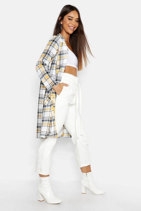 Womens Multi Check Collar Sleeve Duster