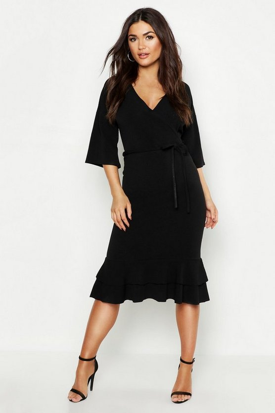 Wrap Frill Midi Dress