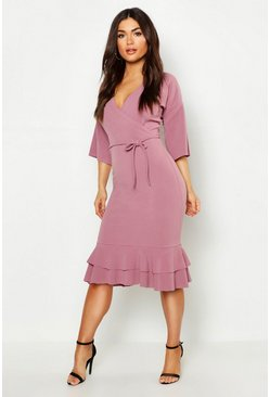 Womens Dusty rose Wrap Frill Midi Dress