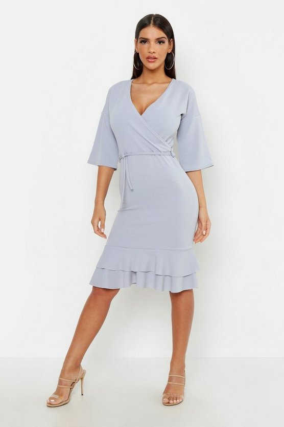 Womens Sky Wrap Frill Midi Dress