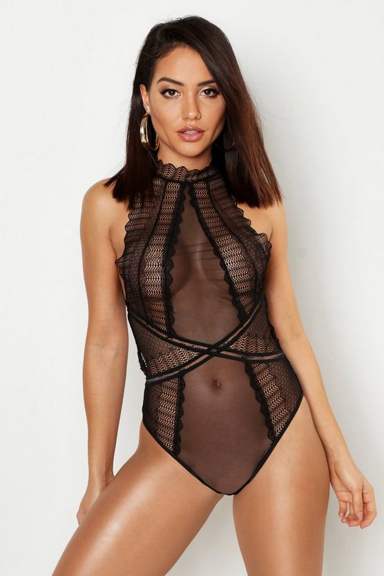 Black High Neck Fan Lace Body