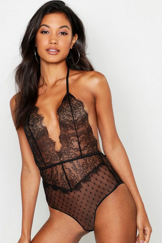 Spot Mesh & Eyelash Lace Halter Body