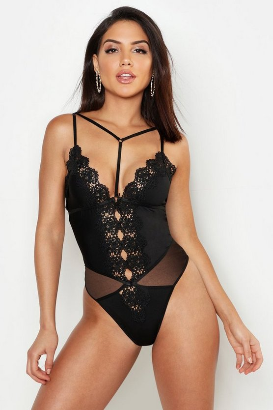 Womens Black Crochet Lace Plunge Body