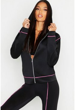 Womens Pink Fit Contrast Piping Sports Jacket