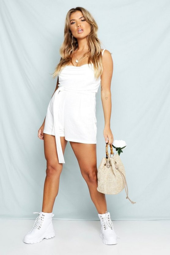 Womens White Linen Look Cowl Neck Belted Playsuit