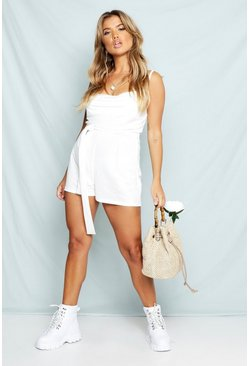 Womens White Linen Look Cowl Neck Belted Romper