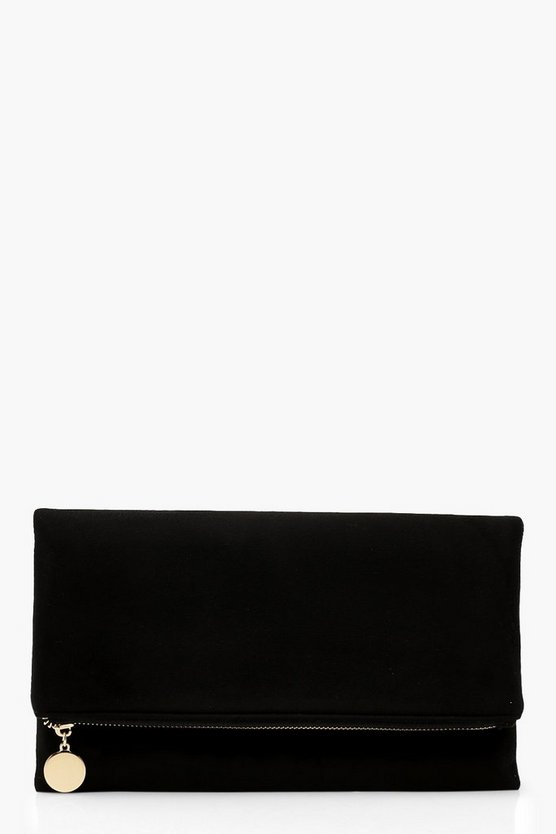 Womens Black Suedette Foldover Clutch