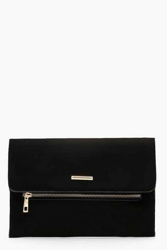 Womens Black Suedette Zip & Bar Clutch