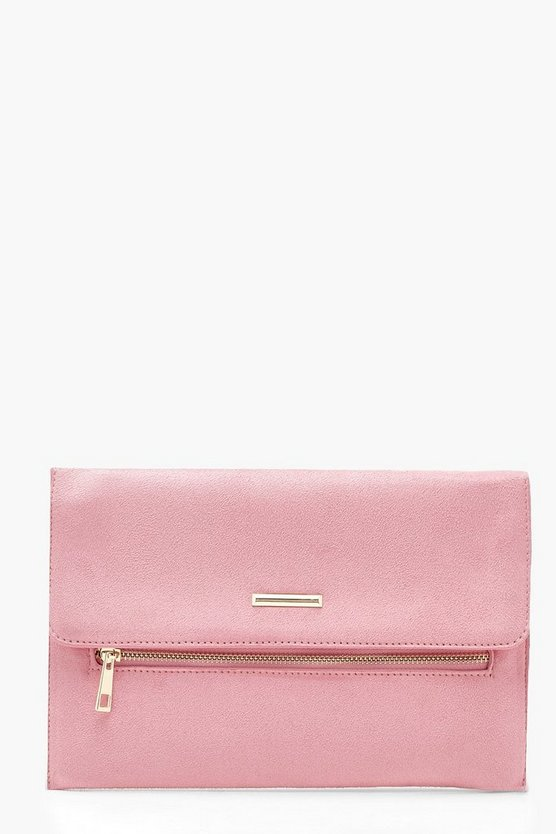 Suedette Zip & Bar Clutch