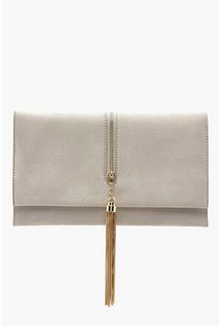 Womens Grey Suedette Chain Tassel Clutch