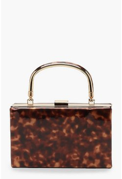 Womens Brown Resin Effect Box Clutch Bag With Handle