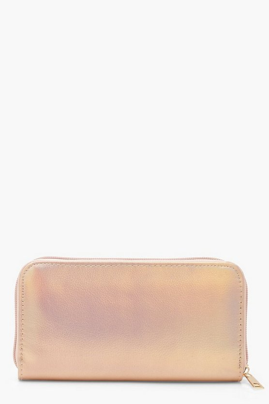 Cracked Metallic Ziparound Purse