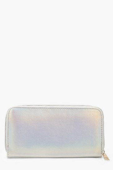 Womens Silver Cracked Metallic Ziparound Purse