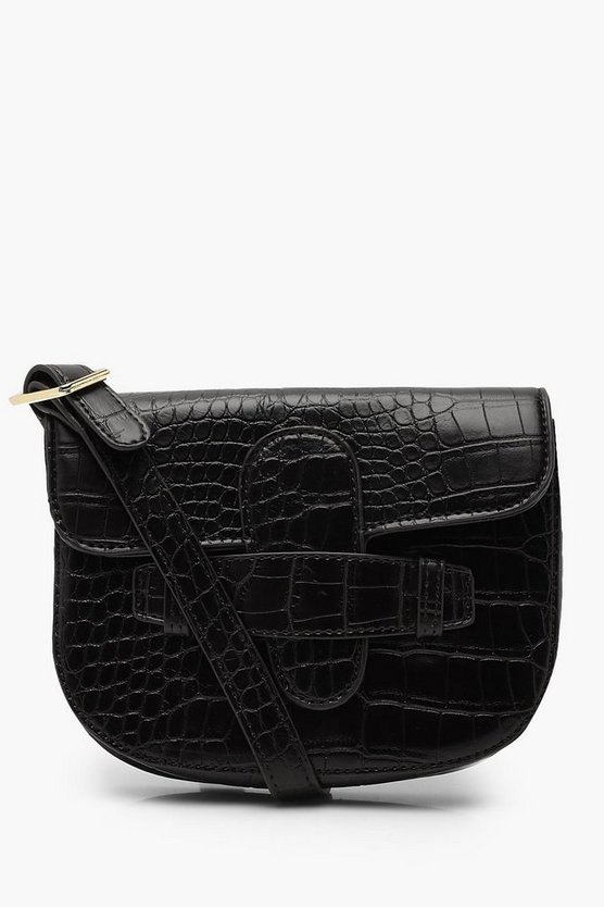Womens Black Croc Tab Detail Belt Bag
