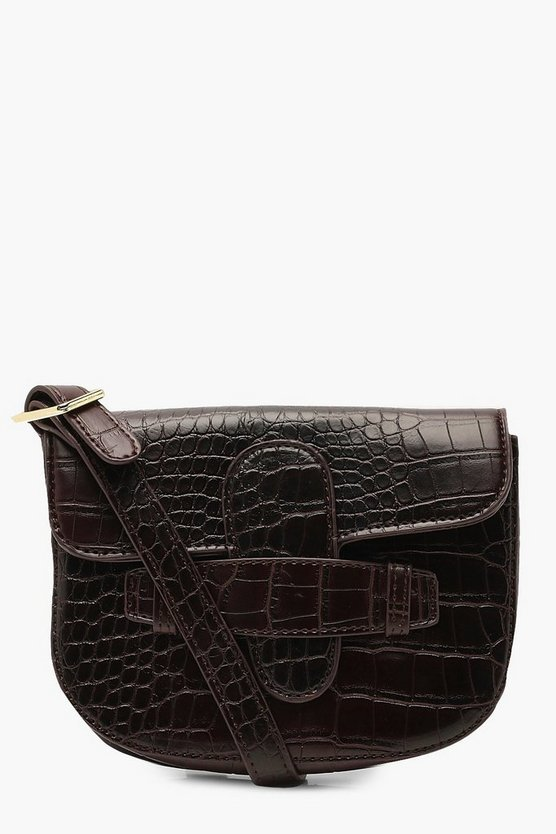 Womens Tan Croc Tab Detail Belt Bag