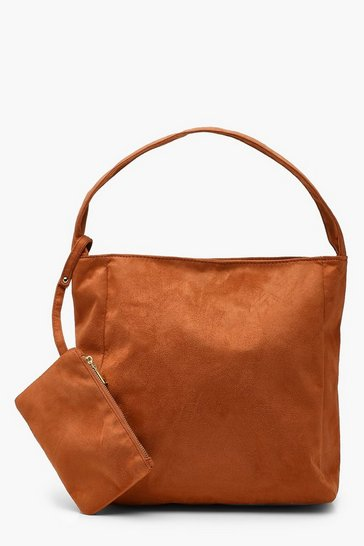Womens Brown Suedette Slouch Daybag With Purse