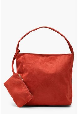Womens Rust Suedette Slouch Daybag With Purse