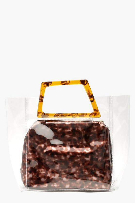 Brown Resin Effect Clear Pouch Bag