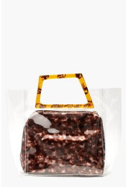 Womens Brown Resin Effect Clear Pouch Bag