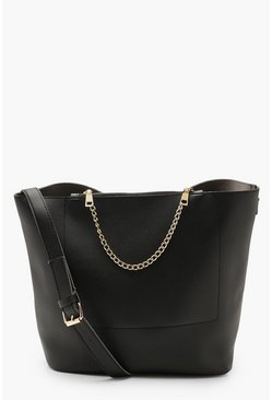 Womens Black Chain Detail Bucket Daybag