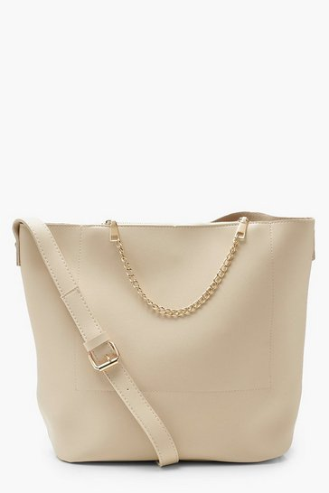 Womens Cream Chain Detail Bucket Daybag
