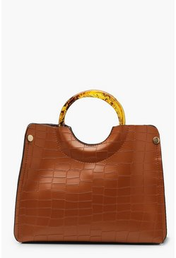 Womens Brown Resin Ring Handle Croc Small Tote