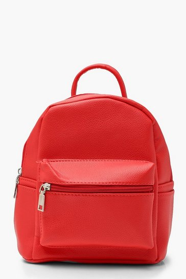 Womens Red Mini PU Rucksack