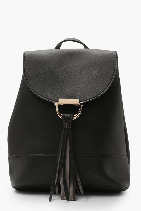 Womens Black Tassel & Metal Fitting Rucksack