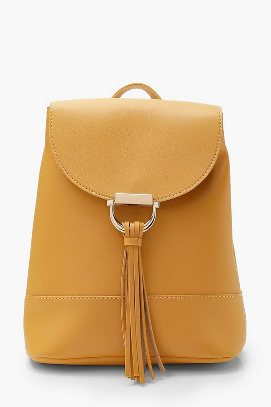 Womens Mustard Tassel & Metal Fitting Rucksack