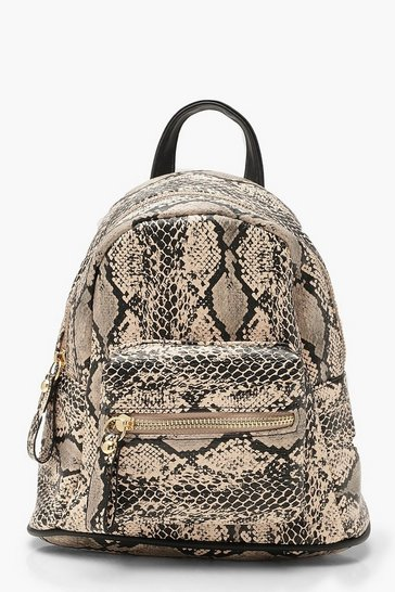 Womens Cream All Over Snake Mini Rucksack