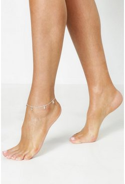 Womens Silver Diamante Drop Anklet